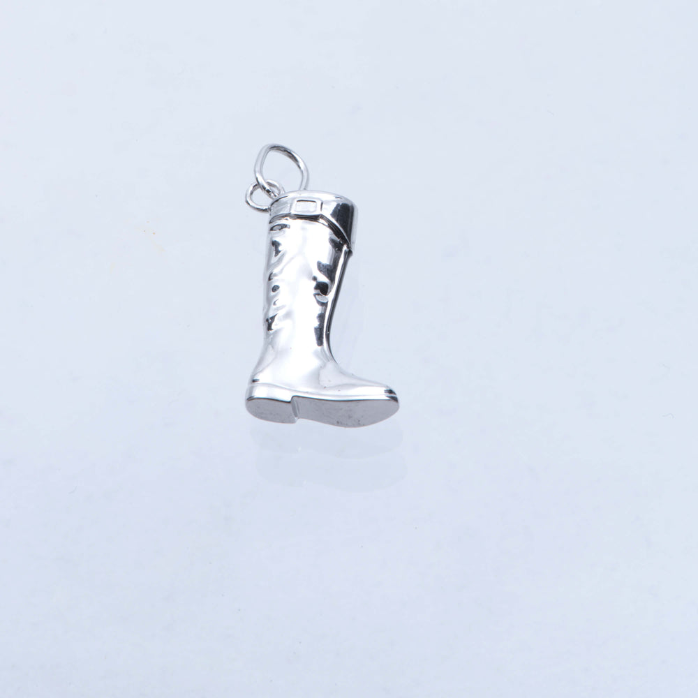 Sterling Silver Polo Boot Charm With Enamel Zip