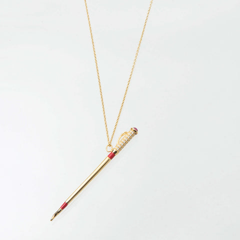 Sterling Silver and 18ct gold Whip 'Patron' Pendant With Ruby, Diamond and Enamel Handle