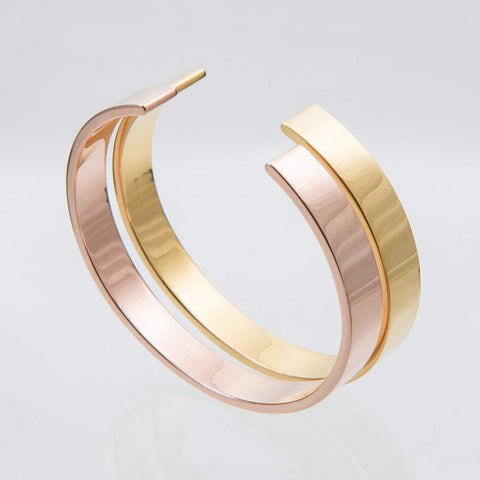 Sterling Silver and 18ct Yellow Gold Torque Bangle