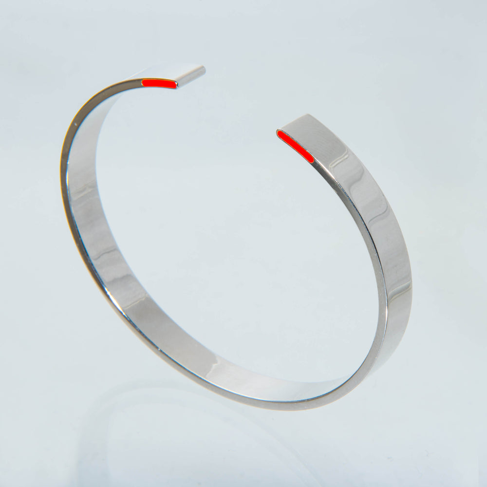 "Sterling Silver and Red Enamel Men's ""Backshot' Bangle"