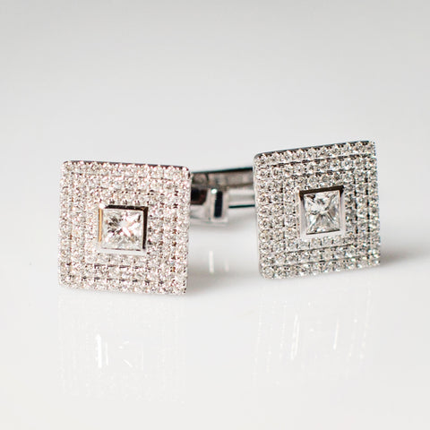 Princess Cut Diamond Set Cufflinks