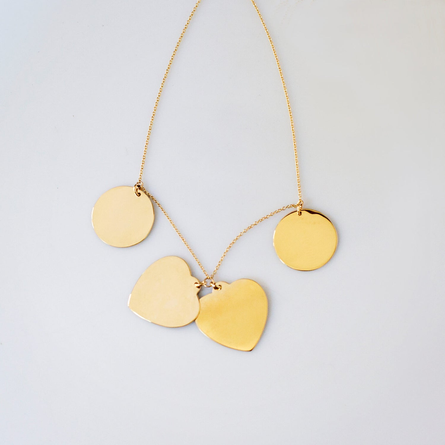 Gold Almond Multi Tag Necklace