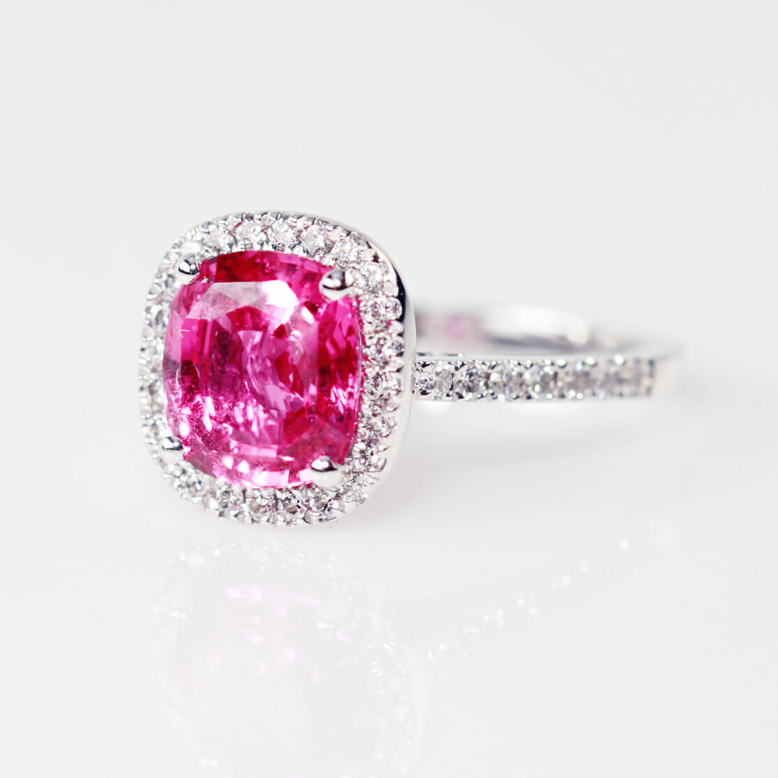 Cushion Pink Sapphire And Diamond Cluster  Ring