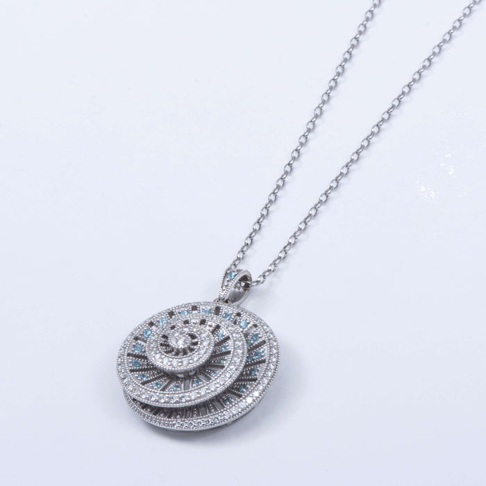 Aquamarine And Diamond Target Shell Pendant