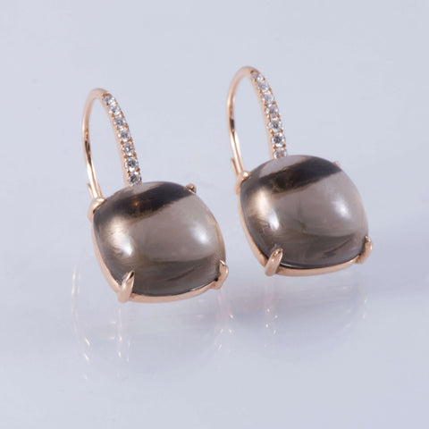 Smokey Quartz And Diamond Drop Earrings