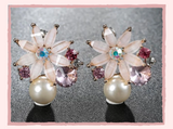 Pretty Pearl Pink Flower Stud Earrings