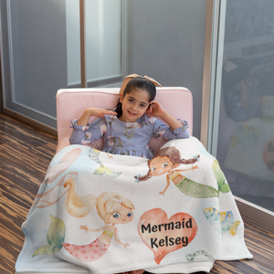 Personalized Girls Mermaid Blanket - Love by Eva Simone