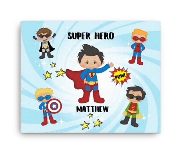 Love by Eva Simone Boys Superhero Boys Custom Canvas Art Print