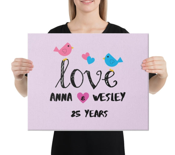 Love by Eva Simone Custom Anniversary | Engagement | Valentine's Canvas Love Birds Print