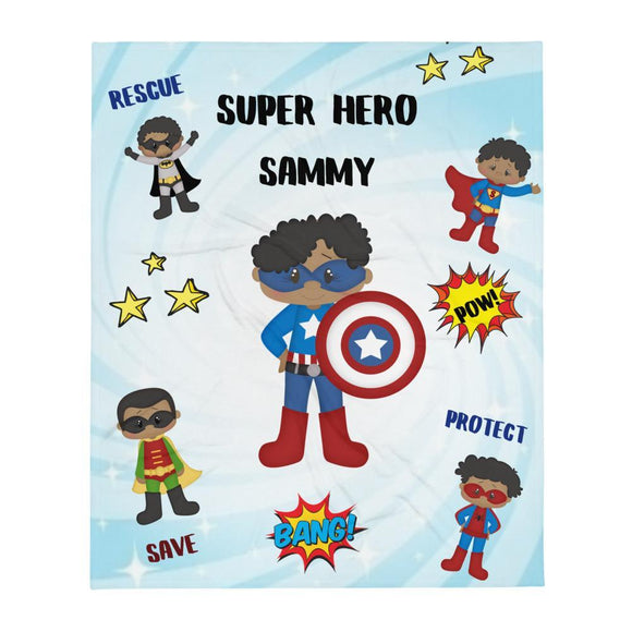 Personalized Super Hero Boys Throw Blanket - Love by Eva Simone