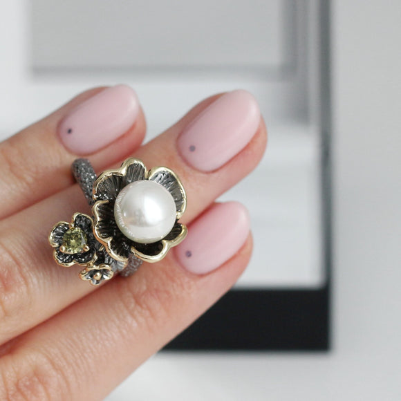 Simone Signature Vintage Ring White Pearl