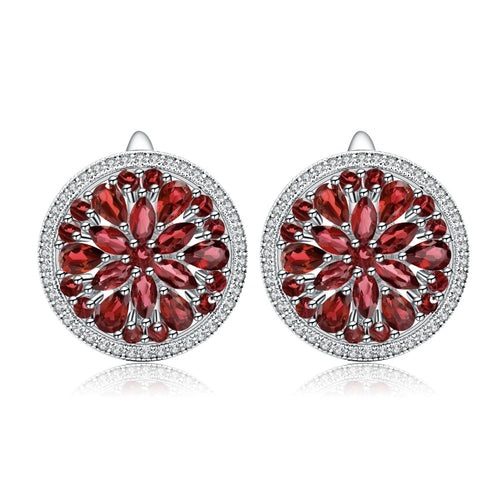 Red Garnet Flower Earrings - Dahlia,  Love by Eva Simone