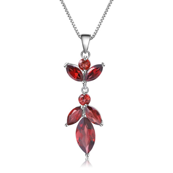 Dahlia - Natural Red Garnet Flower Pendant Necklace