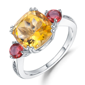Solar Plexus - Natural Citrine & Red Garnet Ring