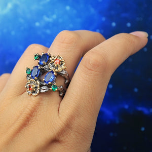 Blue Stone Vintage Flower Ring - Love by Eva Simone