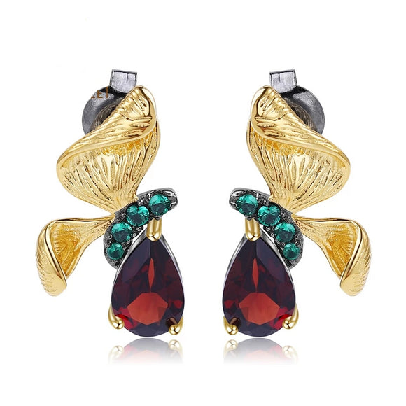Love by Eva Simone Red Garnet Butterfly Earrings