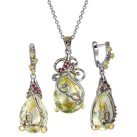Simone Signature - Green Goddess Pendant Necklace and Earrings Set
