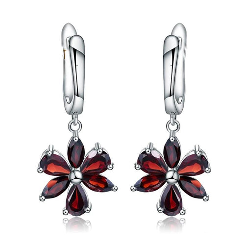 Soul Fire Red Garnet Flower Earrings