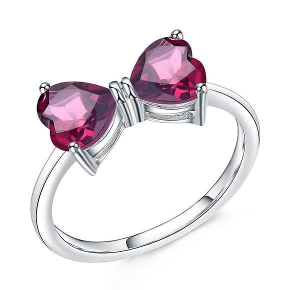 Rhodolite Garnet Heart Ring Love by Eva Simone