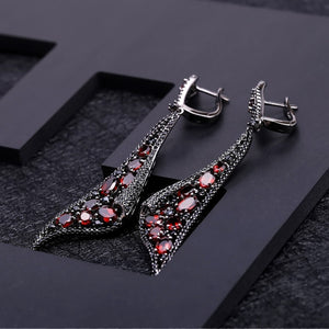 Spirited Artist -  Natural Red Garnet Drop Earrings Ring Set