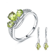 Load image into Gallery viewer, Natural Green Peridot Dangle Earrings & Ring Jewelry Set