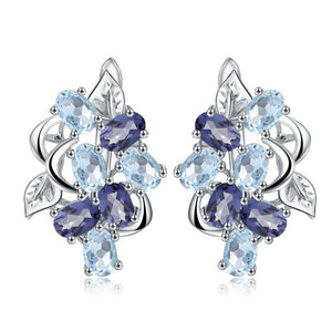 Blue Topaz Floral Earrings - Love by Eva Simone