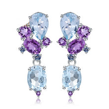 Load image into Gallery viewer, Love by Eva Simone Amethyst and Topaz Earrings