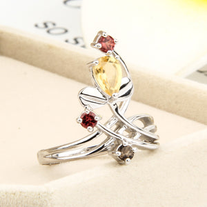 Citrine and Red Garnet Ring