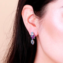 Load image into Gallery viewer, Natural Blue Topaz Amethyst Drop Earrings