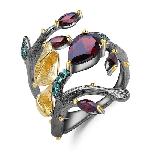 Red Garnet Butterfly Ring - Love by Eva Simone