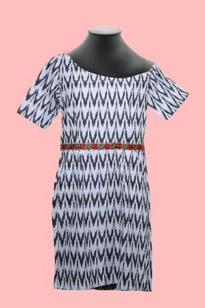 One shoulder Ikat Dress