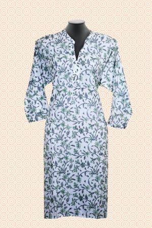 Handblock Grey Green Long Kurti