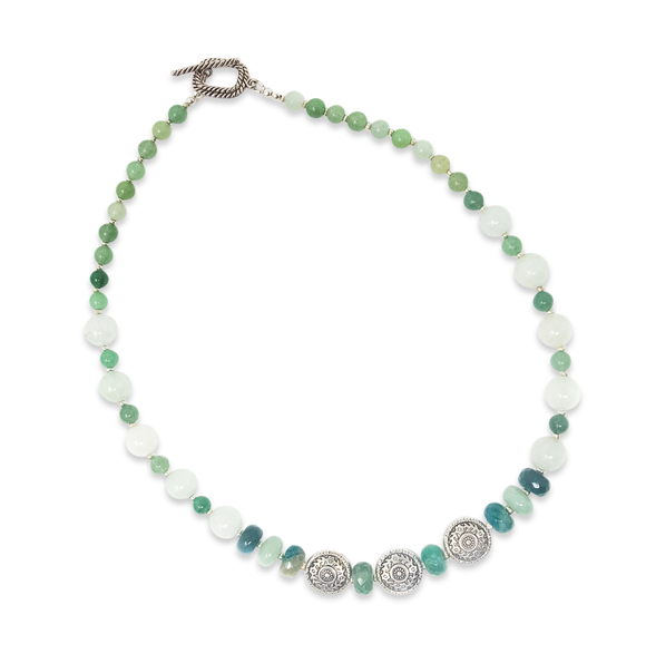 Green/White Beaded Silver Necklace