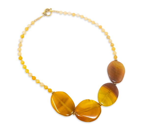 Amber Natural Stone Beaded Necklace