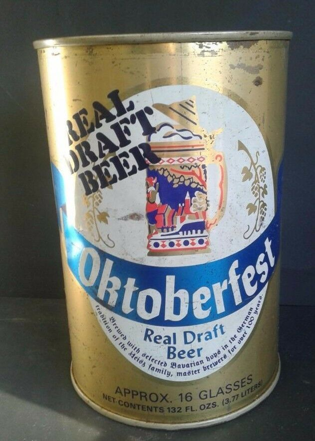 Oktoberfest German Real Draft Beer EMPTY Can Mini Keg 132 fl oz Collectible