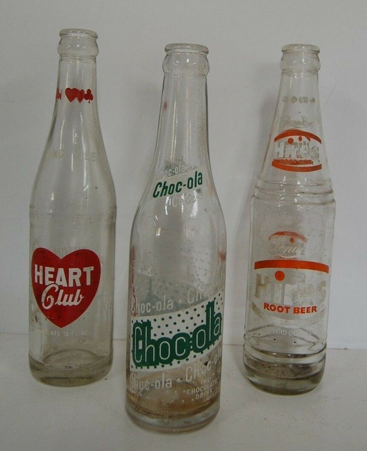 Vintage LOT OF 3 Choc-ola Heart Club Hires Root Beer Glass Soda Pop Bottles
