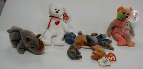 LOT Of 4 Ty Beanie Babies Excellent Condition Rhino, Crab, Bears W Tag Protector