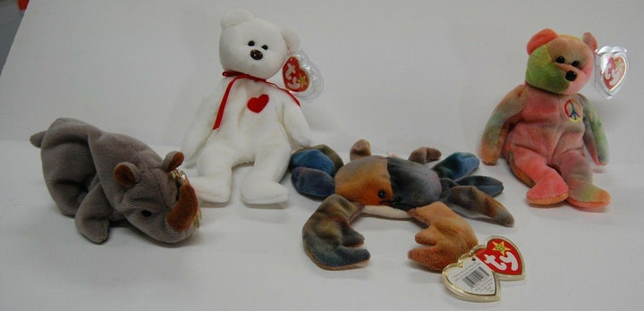 LOT 4 Ty Beanie Babies Excellent Condition Rhino, Crab, Bears Tag Protector toys