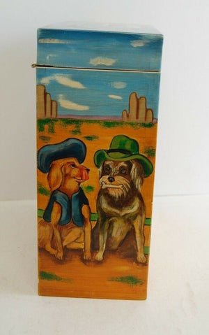Vintage Wooden Hand Crafted Painted Dog Treat Box Dog Bone Handle Pet Decor