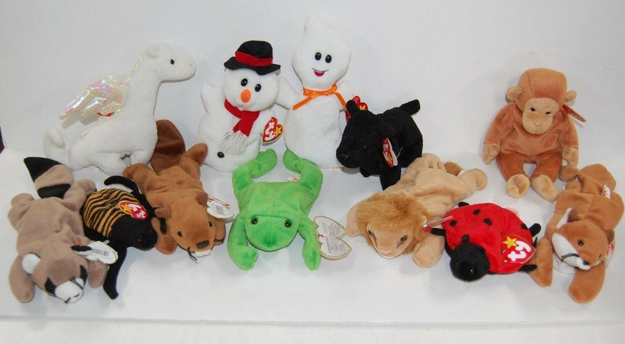 LOT12 Ty Beanie Babies Lion Fox Ghost All Retired 1997-1999 Mint Condition Toys