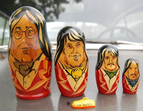 Rare Vintage Wooden Russian The Beatles Band Nesting Dolls Set Of 4 Lennon Ringo