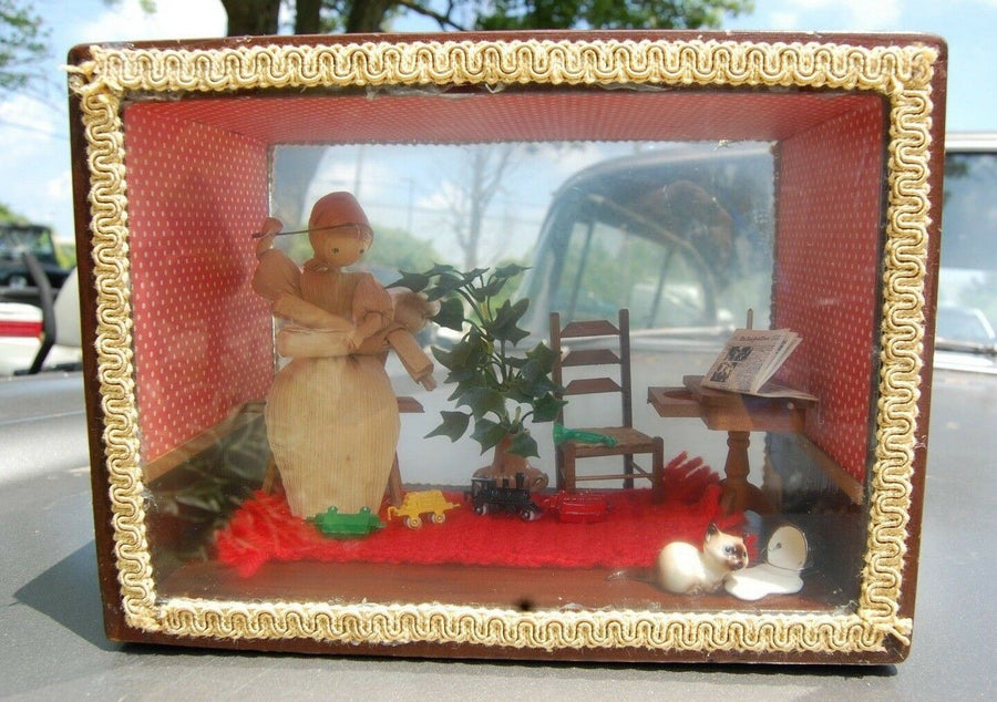 Vintage Odd Homemade Politically Incorrect Shadow Box Gettin' The Switch Toys