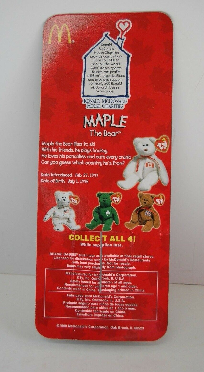 Maple The Bear-1996 McDonald's Ty Beanie Baby Rare Errors 1993 OakBrook Toys