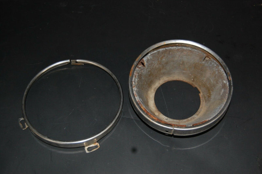 1964 FORD GALAXIE HEAD LIGHT LAMP BUCKET AND CHROME TRIM RING