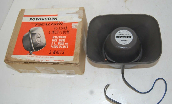 POWERHORN REALISTIC 4 INCH PA, MUSIC & PAGING SPEAKER RETRO INDUSTRIAL ART 1950
