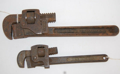 TRIMONT MFG. ANTIQUE ADJUSTABLE PIPE WRENCH SET VINTAGE TOOLS STEEL DROP FORGED