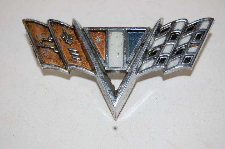 1967 CHEVROLET IMPALA V CROSS FLAG EMBLEM W/ PINS ORNAMENT