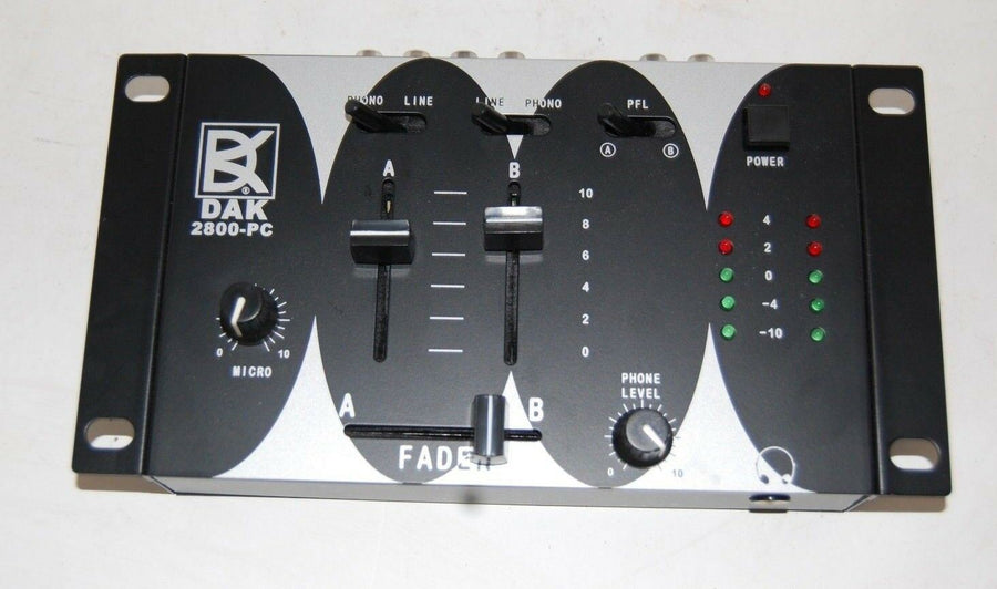 DAK 2800-PC Preamp Interface Mixer DJ Fader MIC Phono Line PFL 12V Power Supply