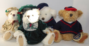 4 Pickford Brass Button Bears 20th Century Collectibles w/Tags TULLY TEDDY BEARS