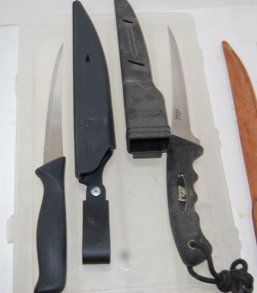 2 American Angler Fillet Fish Scaling Knives 2 Fillet knives No Brand W/ CASES